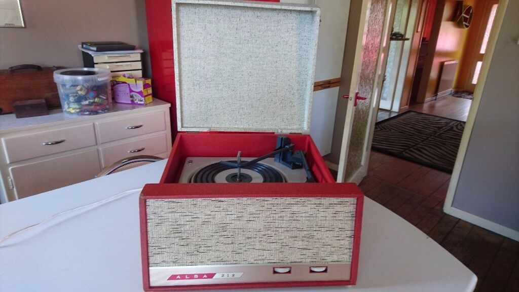 Vintage 1960s Alba 212 Portable Mains Vinyl Bsr Record
