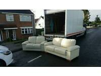 3 + 2 seater sofa in cream leather from Harveys