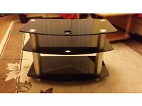 Black Glass 2 Layered Television Table, TV Stand, L=71cm D=40cm H=46cm, Very Good Condition
