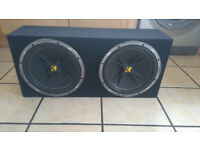 "Double 12"" Kicker Comp Subwoofers & Sealed Box Full Working Order £100 OVNO"