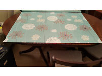 Roller blind duck egg blue meadow pattern