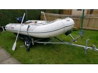 Suzumar dinghy 25hp yamaha outboard engine trailer