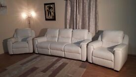Italian Avola white leather electric recliner 3 seater sofa and 2 armchairs
