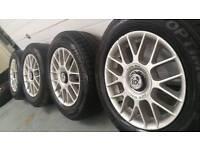"Fox racing 15"" 4x100 alloy wheels + 4 tyres! Ready to fit! Vauxhall MG VW honda toyota"