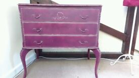 Purple chest of drawers dresser shabby chic vintage three drawers