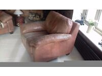 M&S Oxblood Red Distressed Leather Armchair