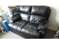 DFS REAL LEATHER 2 SEATER SOFA (BLACK)
