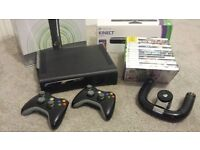Xbox 360 Elite (120gb HD), Kinect, 2 Wireless Controllers, Wireless Steering Wheel and 15 Games