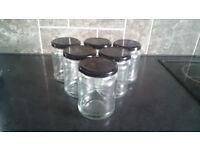 6x 300ml Glass jars with screw on Lids. honey, jam, chutney, spice. sterilised