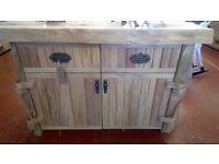 Natural wood sideboard.