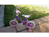 "Girls purple and pink 12"" inch fairy bike with stabilisers"