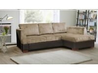 BRAND NEW MADEIRA FABRIC CORNER SOFA BED WITH STOAGE SETTEE - BLACK GREY BROWN MINK MATERIAL SOFABED