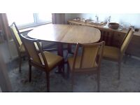 Old 'Nathan' gatefold table & chairs
