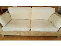 M&S Rattan cream sofa