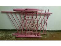 Pink metal single bed frame