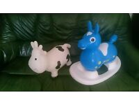Two ride on boubcy toys: Rody rocking horse and Happy Hoppers Cow