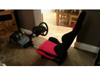 Logitech G29 Wheel and Open Wheeler Gaming Race Seat Bucket Adjustable Custom PS4 PS3 PC