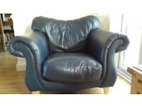 Blue Leather Sofa and Chair.