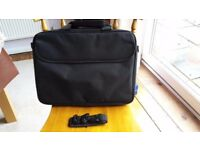 Black laptop bag with shoulder strap and two pockets. Takes up to 16 inch laptop.