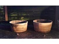 Genuine oak whisky barrels . Halfs and wholes