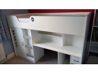 Mrs Flatpack Child's cabin bed (white) - high sleeper bed with integral wardrobe and desk