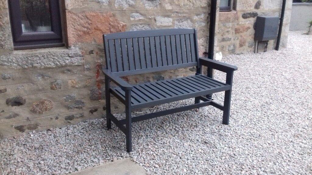 Wooden Garden Bench Painted In Trendy Grey Colour In