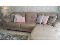 Leather chaise sofa,swivel chair and foot stool