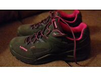 A pair of nearly new ladies' Lowa Sircos goretex hiking low top shoes, in grey, size 7(41)