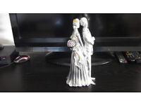 Elegant Tall Silver Wedding Couple Ornament