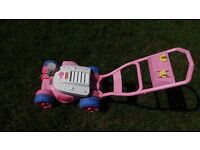 Fisher price bubble lawn mower outside toy pink