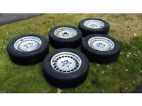 BMW Metric Wheels with Tyres and Spare (perfect for e23 and e24)