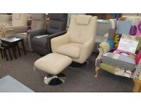 Furniture Village Sanza Cream Leather Swivel Chair Can Deliver