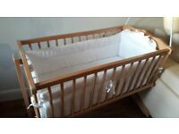 Gluck wooden crib on wheels with mattress , cover bumper and beautiful canopy