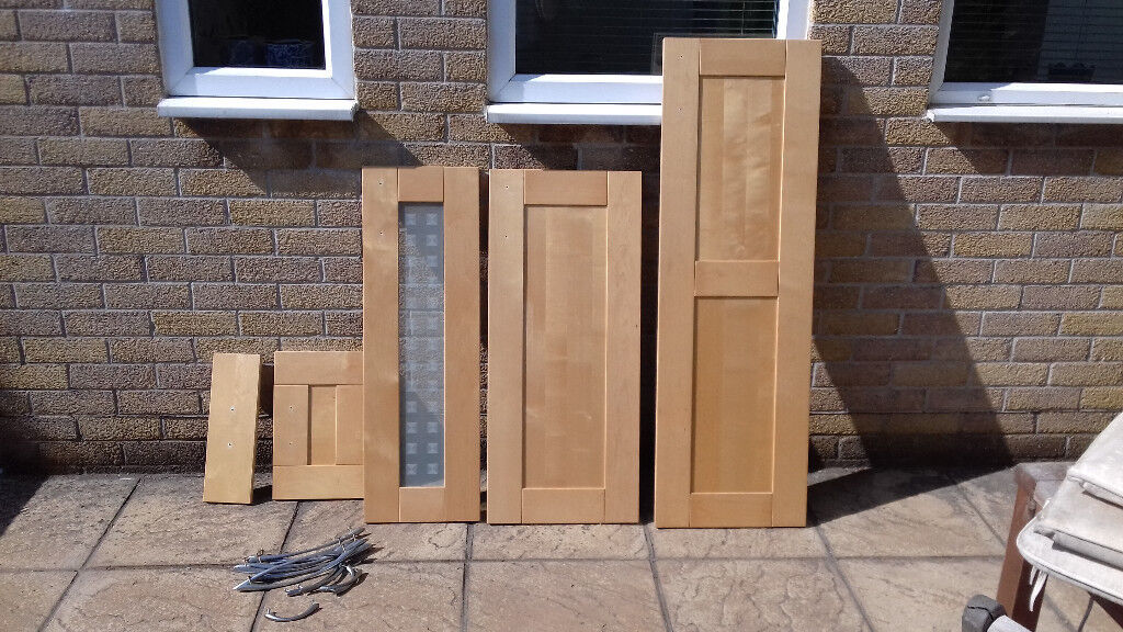 Ikea Faktum Kitchen Cupboard Doors In Nexus Birch Veneer Finish