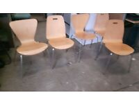 5 wood and chrome stackable chairs