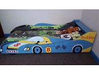 Kids Toddler Children Wooden Bed Furniture Race Car Design 90x200 cm /Blue