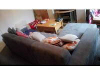 Suede grey corner sofa