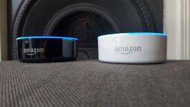 2 x Amazon Echo Dots - (2nd Generation) Black & White - Perfect Condition