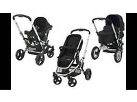 Mothercare Xpedior Travel System Pram, pushchair with carseat, rain cover and footmuff.