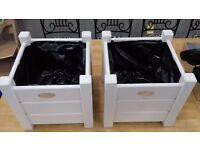 PAIR - Beautiful white wooden plant pots, lined with plastic