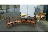6 solid oak dining room chairs with cast iron inserts