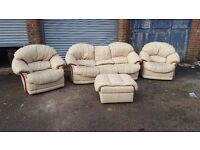 Cute cream leather sofa suite.3+1+1 +footstool.good used condition.can deliver