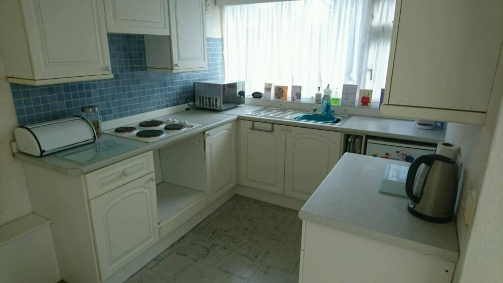 Complete kitchen units, cabinets, worktops, sink