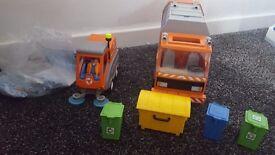 Playmobil bin lorry and road sweeper