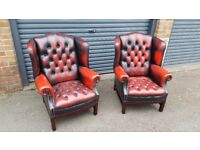 X2 chesterfield wing back chairs