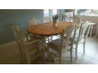 Shabby chic pine farmhouse table and 6 chairs in Laura Ashley White & Gingham fabric