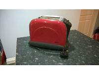 Stainless Steel & Red Enamel Toaster