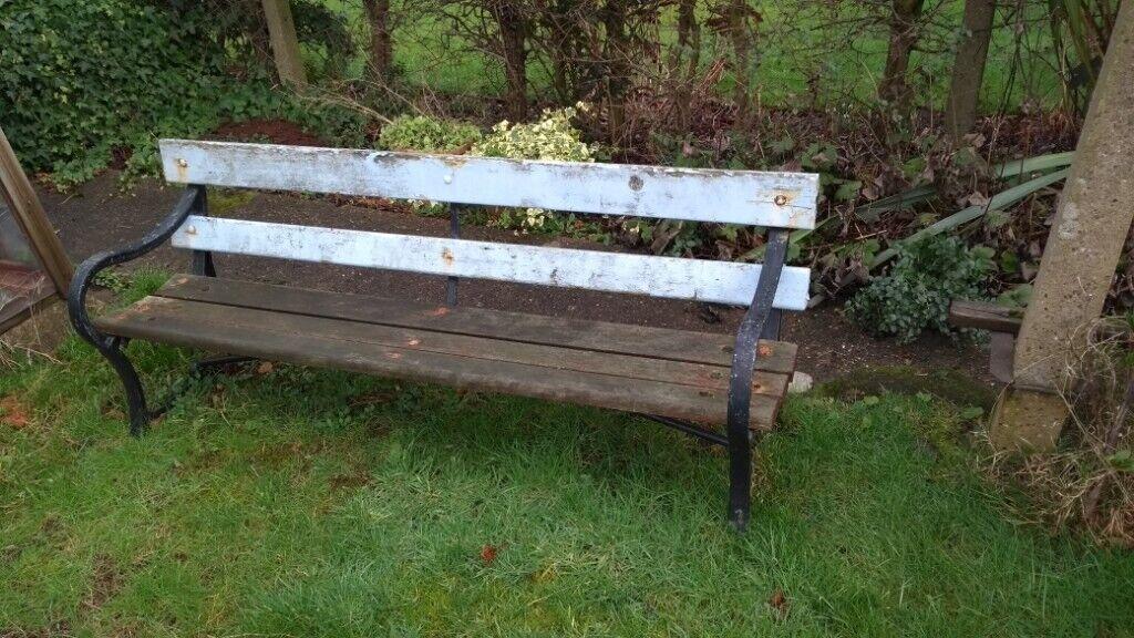 Gen Vintage Ex Council Park Bench Ideal Garden Hardwood Cast Iron Very Heavy