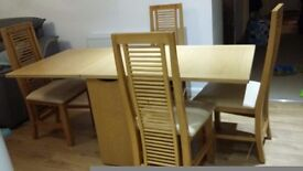 Dining room table and 4 chairs Skovby SM101 beech extendable