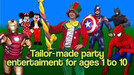 CLOWN & MASCOTS Entertainer MICKEY MINNIE Mouse childrens SPIDERMAN kids hire BATMAN Birthday party